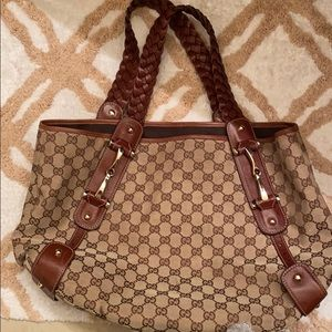 Gucci GG Monogram Canvas & Beige Leather Hobo